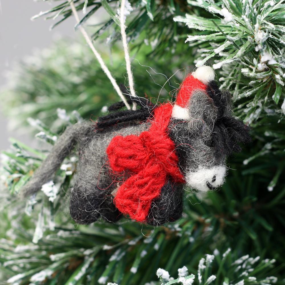 Felt Christmas Decorations Uk.Mini Donkey Felt Christmas Decoration By Amica 12064465 0